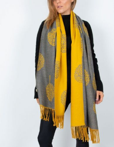 Reversible Mulberry Tree Pashmina & Scarf  - Mustard & Grey